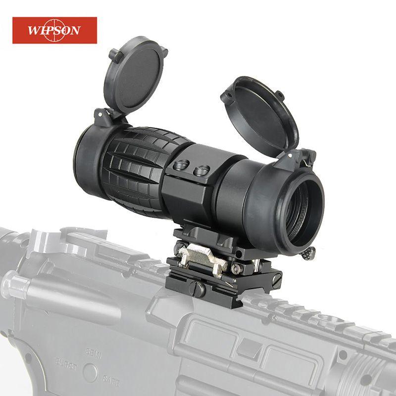 WIPSON optique vue 3X loupe portée compacte chasse lunette de visée avec couvercle rabattable adapté pour 20mm fusil fusil Rail Mount