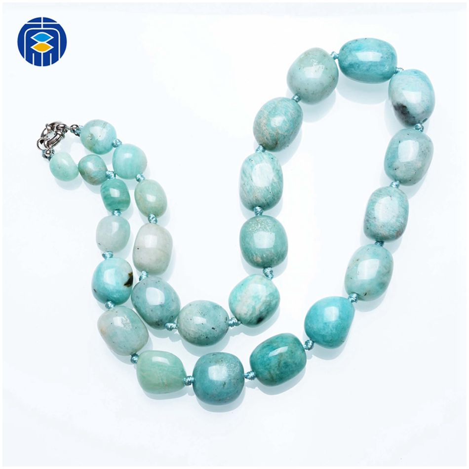Fashion Jewelry Amazonite Stones Necklace Wholesale Natural Stone Knotted Necklaces For Women