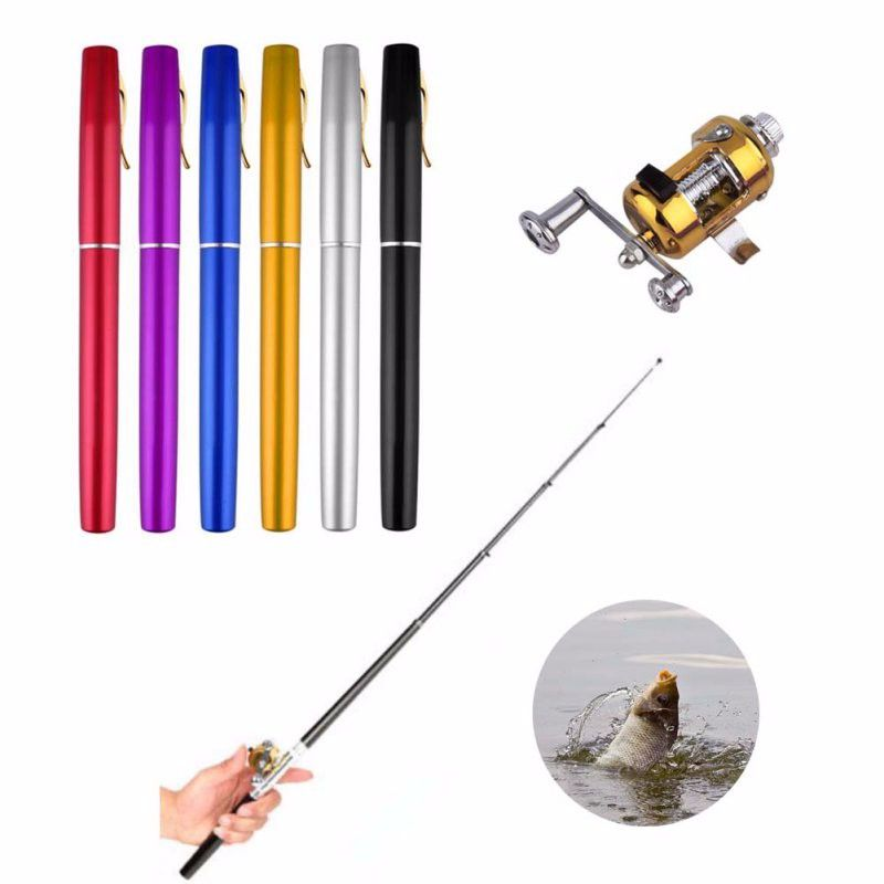 Portable de Poche Télescopique Mini canne à pêche Pen Forme Plié Cannes À Pêche Avec moulinet Nouveau