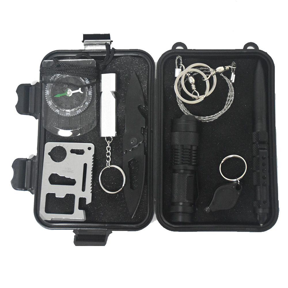9 en 1 kit de survie en plein air sac d'urgence boîte de survie sur le terrain boîte d'auto-assistance SOS équipement pour Camping randonnée livraison gratuite