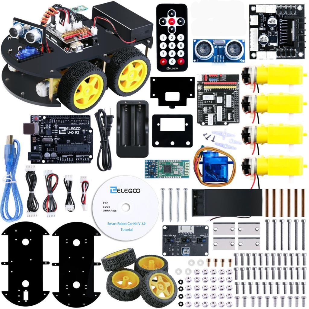 UNO Project Smart Robot Car Kit with UNO R3,Ultrasonic Sensor, Bluetooth module,ect Educational Toy Car for Arduino (Include CD)