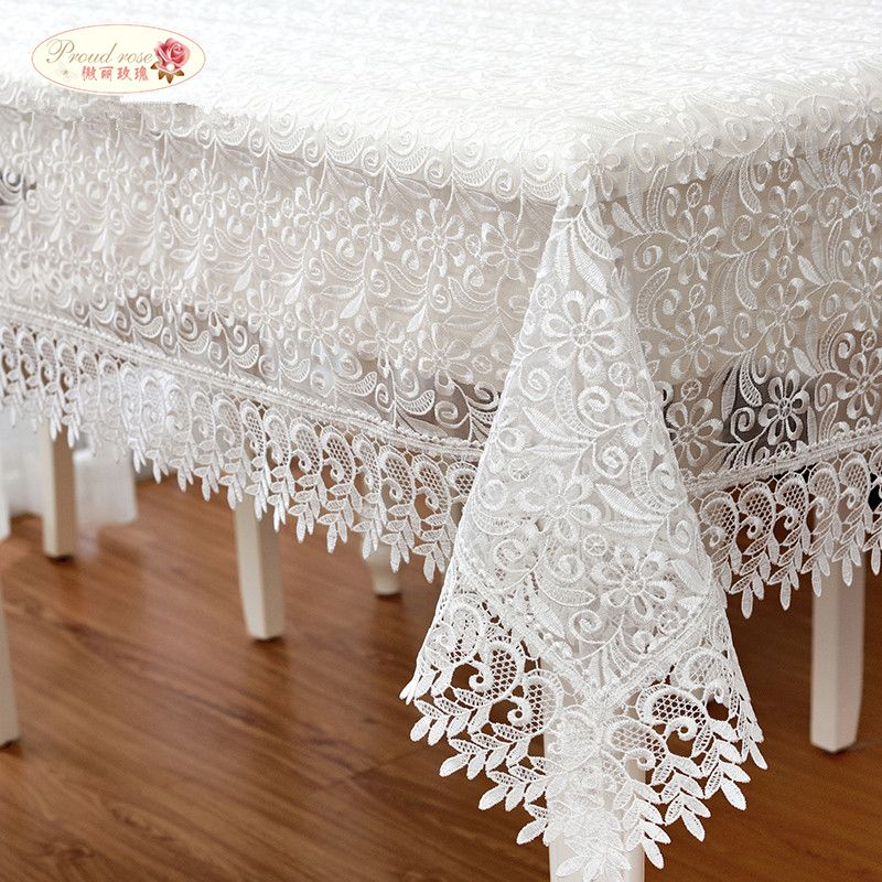 Fière Rose blanc dentelle nappe décor de mariage translucide couverture de Table nappe brodée thé nappe maison Table décor