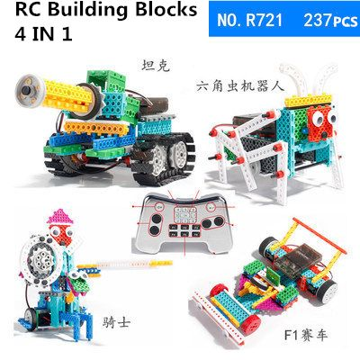 RC toys 237pcs/Set DIY knight/insect/tank/Racing 4-in-1 Variety blocks electronic Assembly Building Blocks Remote Control Blocks