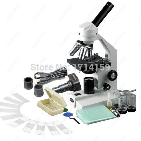 AmScope 40X-2500X Advanced Compound Microscope with USB Digital Camera & 10pc Slide Kit