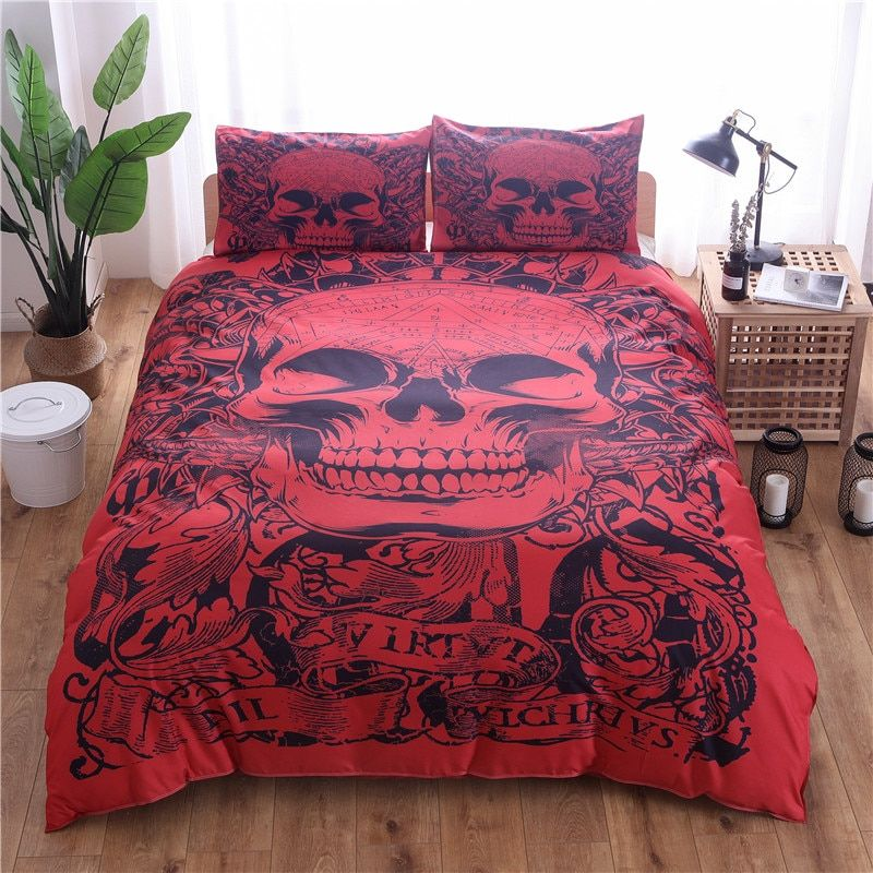 Red Skull Printed Duvet Cover Set 2/3pcs Single Double Queen King Bedclothes Bed Linen Bedding Sets(No Sheet No Filling)