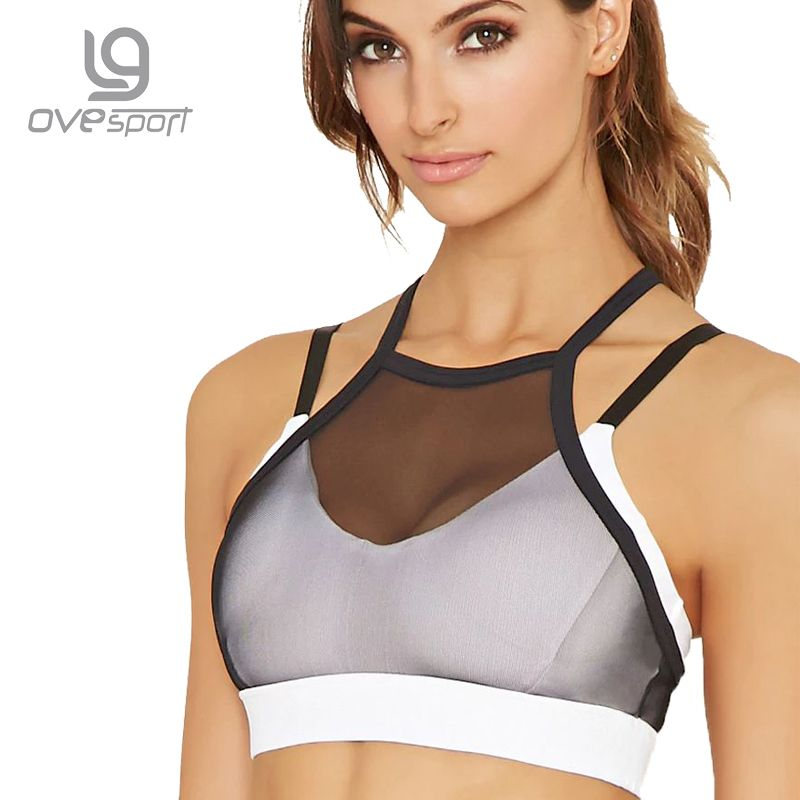 Ovesport Mesh Women Sport Bras Running Gym Yoga Bra Padded Top Fitness Activewear For Women Workout Sports Bras Shockproof Vest