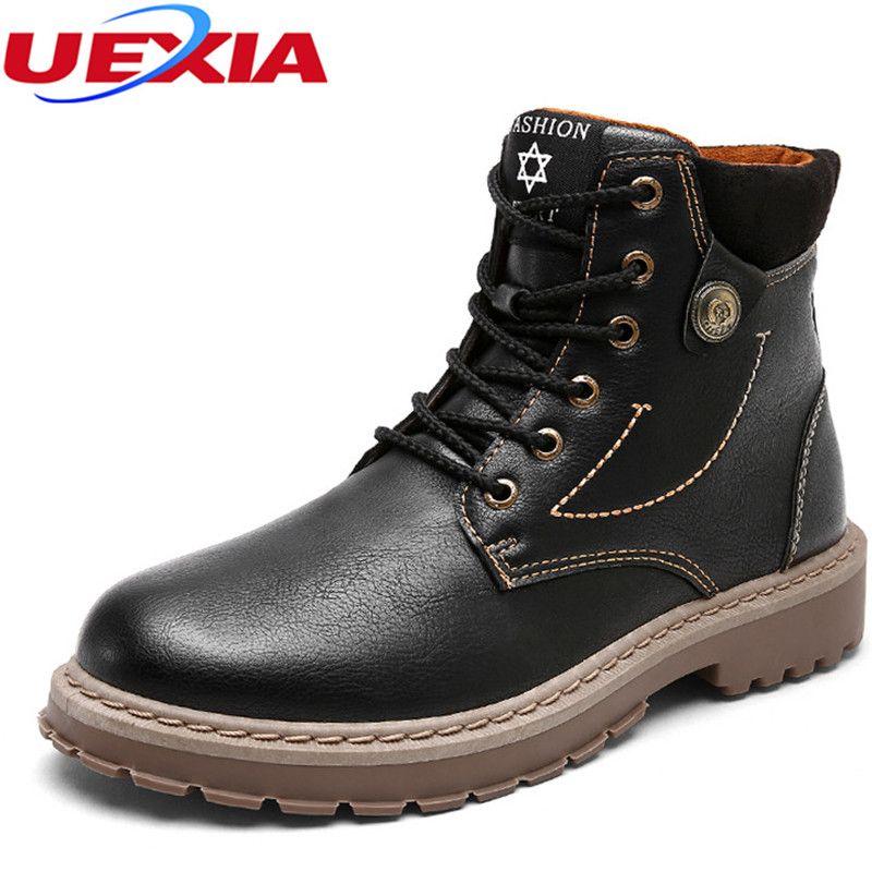 Uexia лодыжки работа Повседневное мужской Сапоги и ботинки для девочек Мужская обувь качество Модельер классические высокие рабочие ботильо...