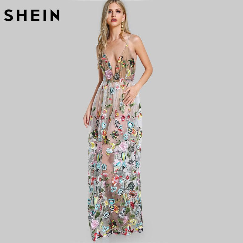 SHEIN Double Strap Embroidered Mesh Overlay Dress Multicolor Spaghetti Strap Deep V Neck Sexy A Line Maxi Dress