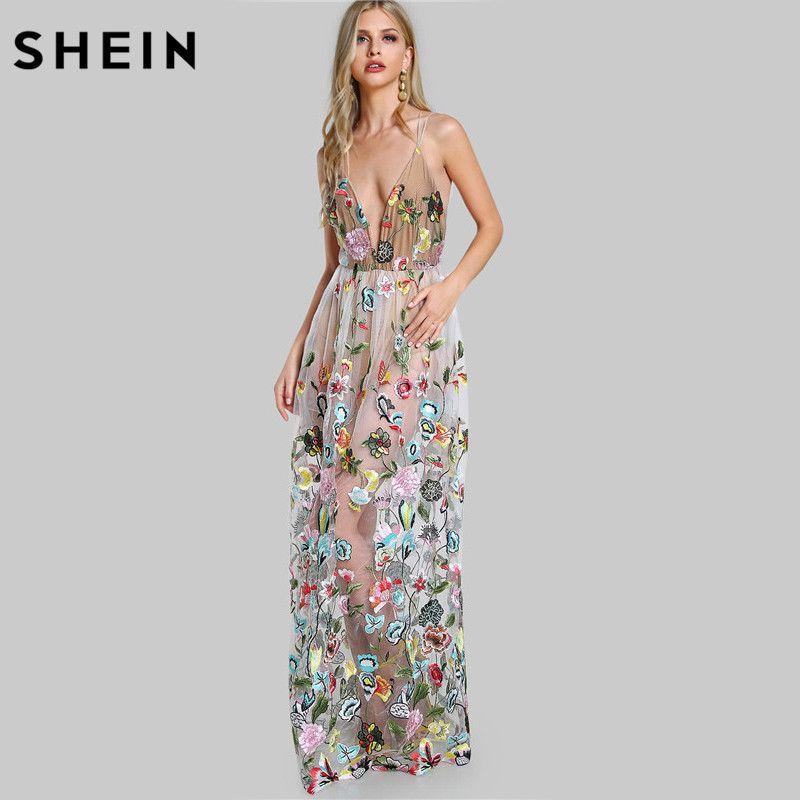 SHEIN Double Strap Embroidered Mesh Overlay Dress Multicolor Spaghetti Strap Deep V Neck Sexy A Line Maxi Dress
