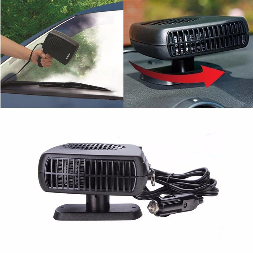 Portable Car Heater Heating Fan 2 in 1 12V Auto Heating Cooling Fan Machine Dryer Windshield Defroster Demister Swing-out Handle