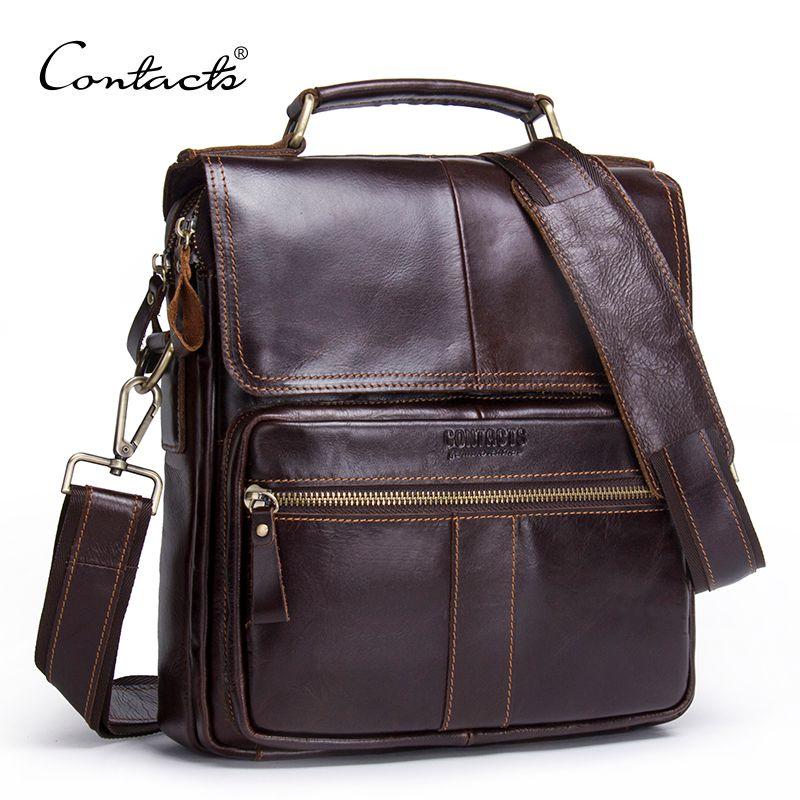 CONTACT'S Brand 2018 NEW Genuine Leather Shoulder Bag Men Messenger Bags Zipper Design Men Commercial Briefcase CrossBody Bag