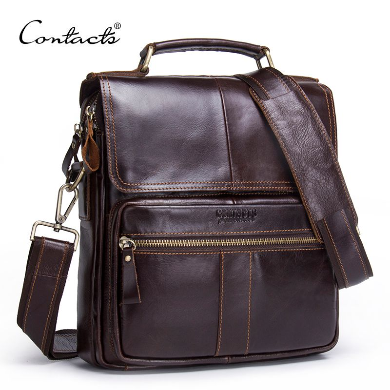 CONTACT'S Brand 2018 NEW Genuine Leather Shoulder Bag Men Messenger Bags Zipper Design Men <font><b>Commercial</b></font> Briefcase CrossBody Bag