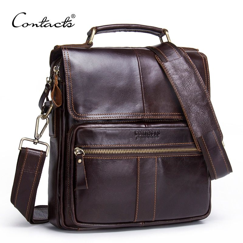 CONTACT'S Brand 2018 NEW Genuine Leather Shoulder Bag Men Messenger Bags Zipper Design Men Commercial Briefcase CrossBody Bag