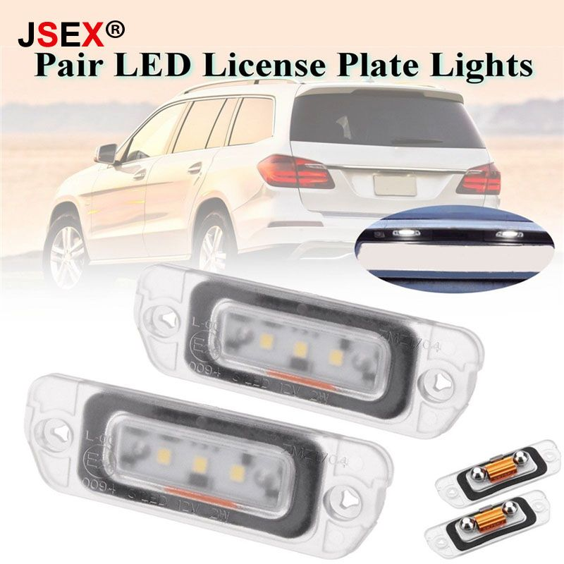 1 Pair No Error Rear 2 SMD LED Number License Plate Light Kit For Mercedes R ML GL Class W164 x164 W251 R300 R320 R550 R500