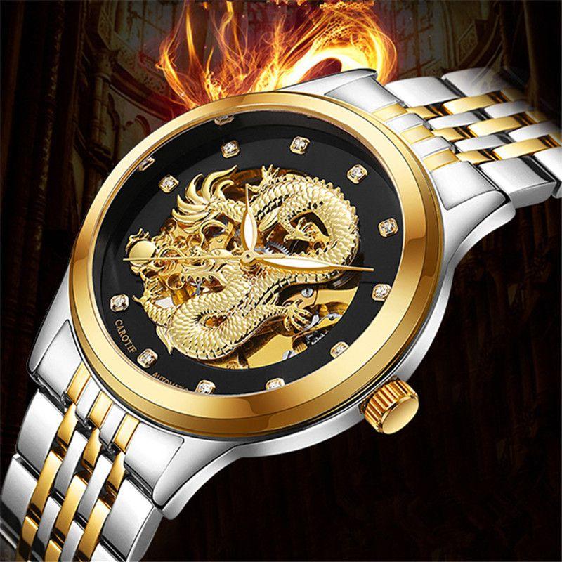 Luxury Automatic Mechanical Dragon Wristwatches reloj hombre Waterproof Full Steel Men's Watch montre Male Clock erkek kol saati