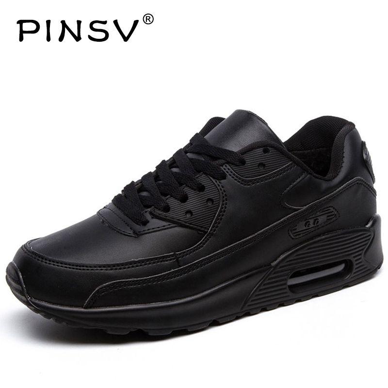 PINSV Invierno Zapatillas de Deporte Zapatos Hombres Zapatillas de Deporte Negras de Las Mujeres Zapatos Corrientes De Los Hombres Calzado Deportivo Air Cushion Buty Sportowe Con Fur