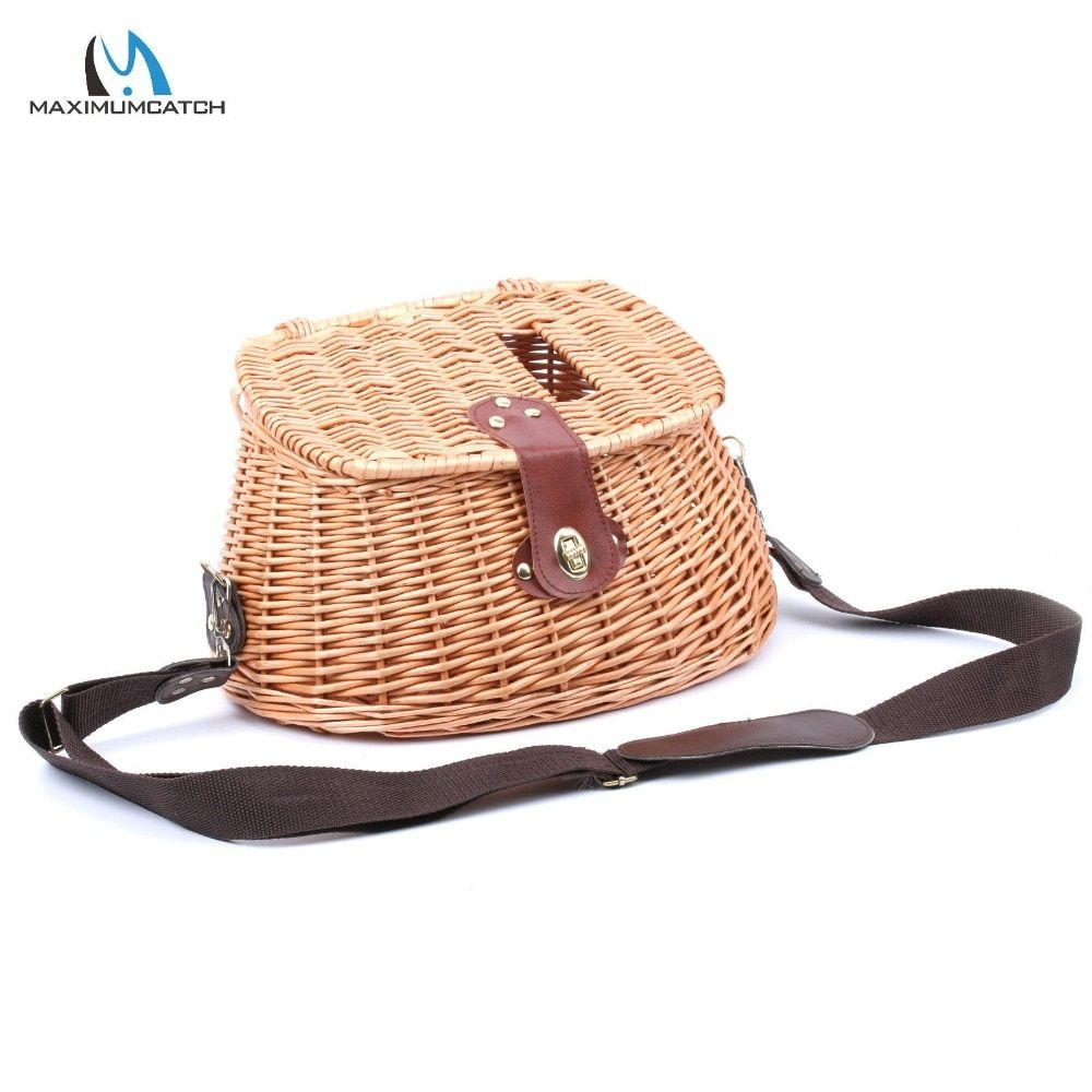 Maximumcatch Chinese-Style Classical Wicker Trout Fishing Creel Vintage Fishing Tackle Box Willow Fishing Basket
