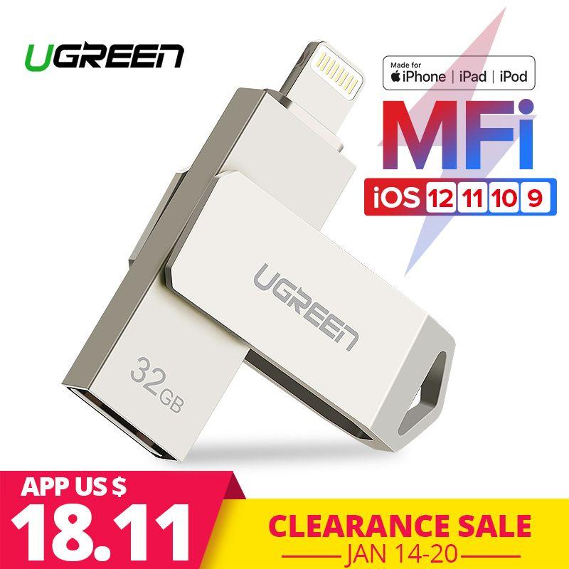 Ugreen USB Flash <font><b>Drive</b></font> USB Pendrive for iPhone Xs Max X 8 7 6 iPad 16/32/64/128 GB Memory Stick USB Key MFi Lightning Pen <font><b>drive</b></font>