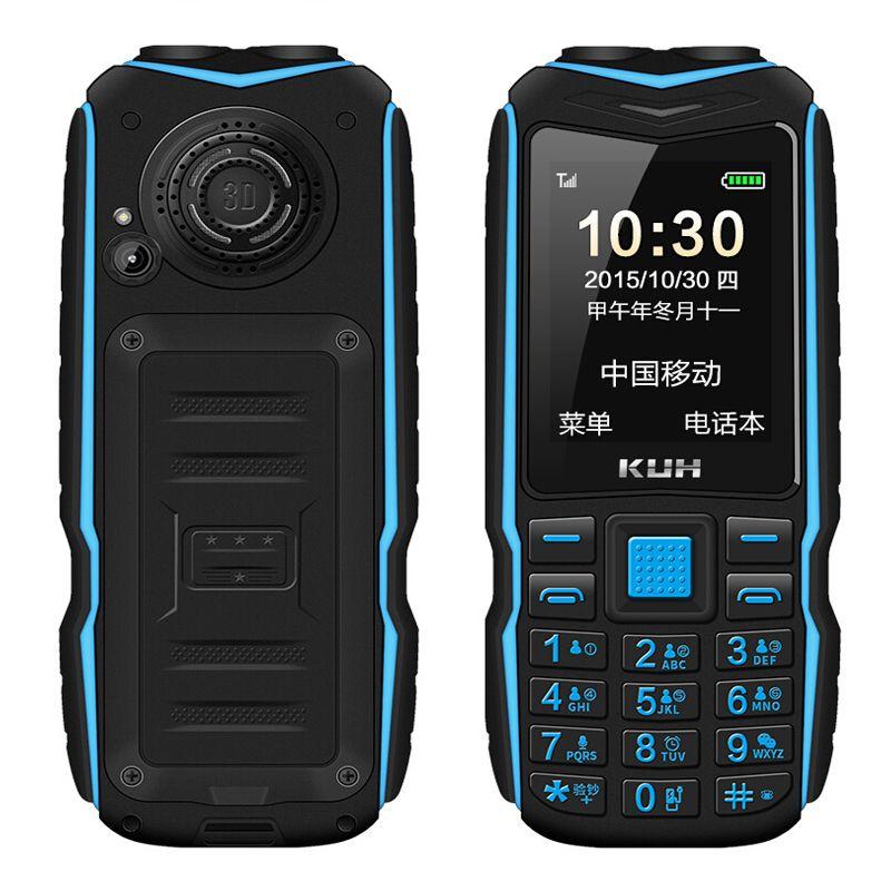 KUH double lampe de poche FM 15800 mAh longue batterie externe de secours robuste téléphone extérieur antichoc double SIM grande voix téléphone portable P035