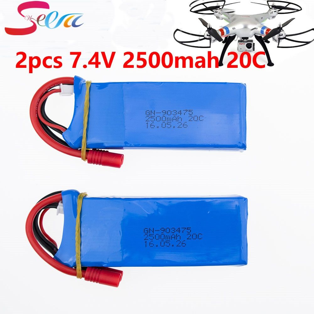 Lipo 2S RC Drone Syma X8C Lipo Battery 7.4V 2500mah 2pcs Battery X8W For Wltoys V262 X8W X8C X8 Quadcopter Helicopter Spare Part