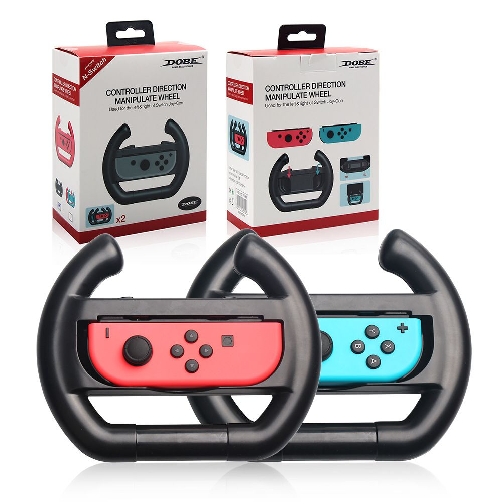 Black Color 2pcs ABS Steering Wheel Handle Stand Holder For Nintend Switch Left Right Joy-Con Joysticks Game Control Case