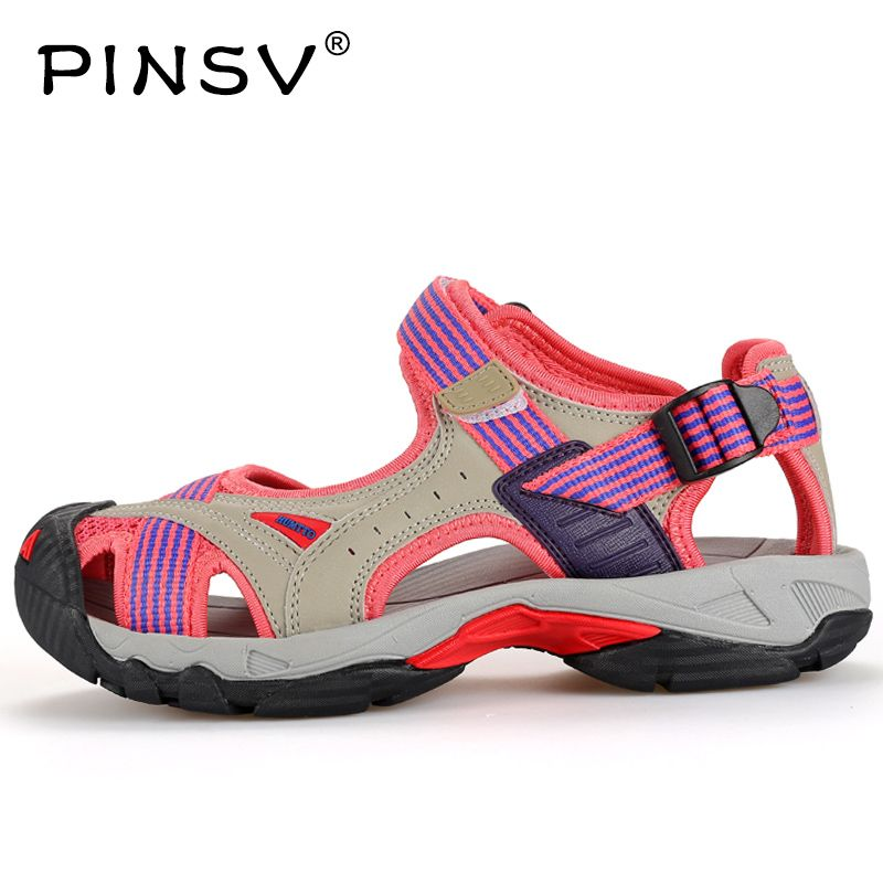 PINSV Women Sandals Anti-Slipping Quick-Drying Outdoor Sandals Soft Hiking Shoes Beach Sandals For Women Waterproof
