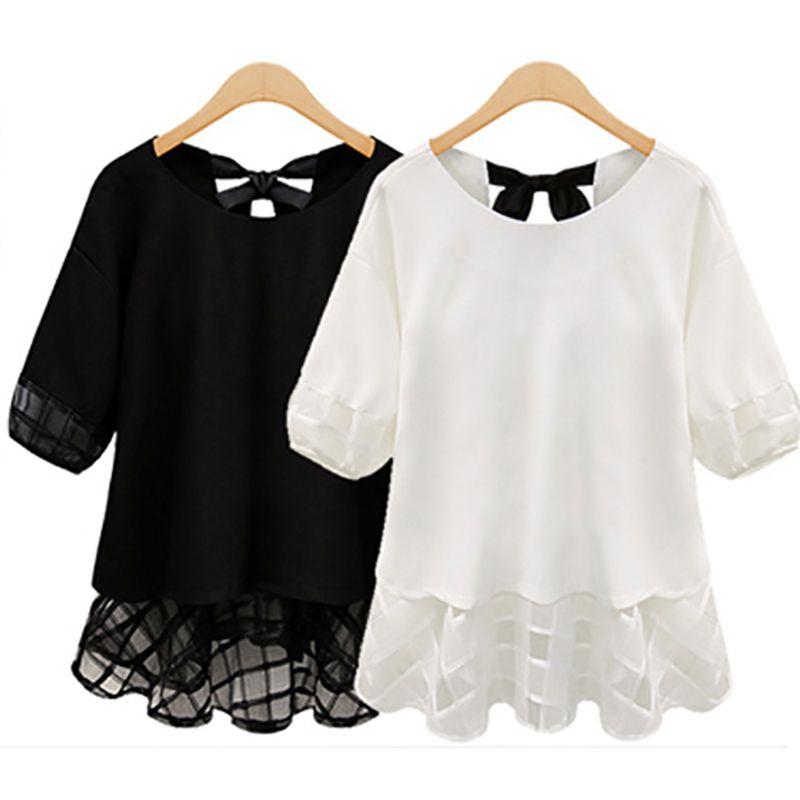 2015new mode plus la taille L XL XXL XXXL 4XL 5XL Femmes clothing fille d'été de mousseline de soie en dentelle shirt tops blouses