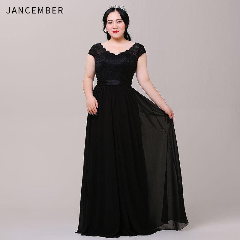 JANCEMBER Plus Größe Abendkleider Cap Sleeve Scalloped Neck Backless Lace Up Zurück Einfache Strand lange kleider abendkleid Neue