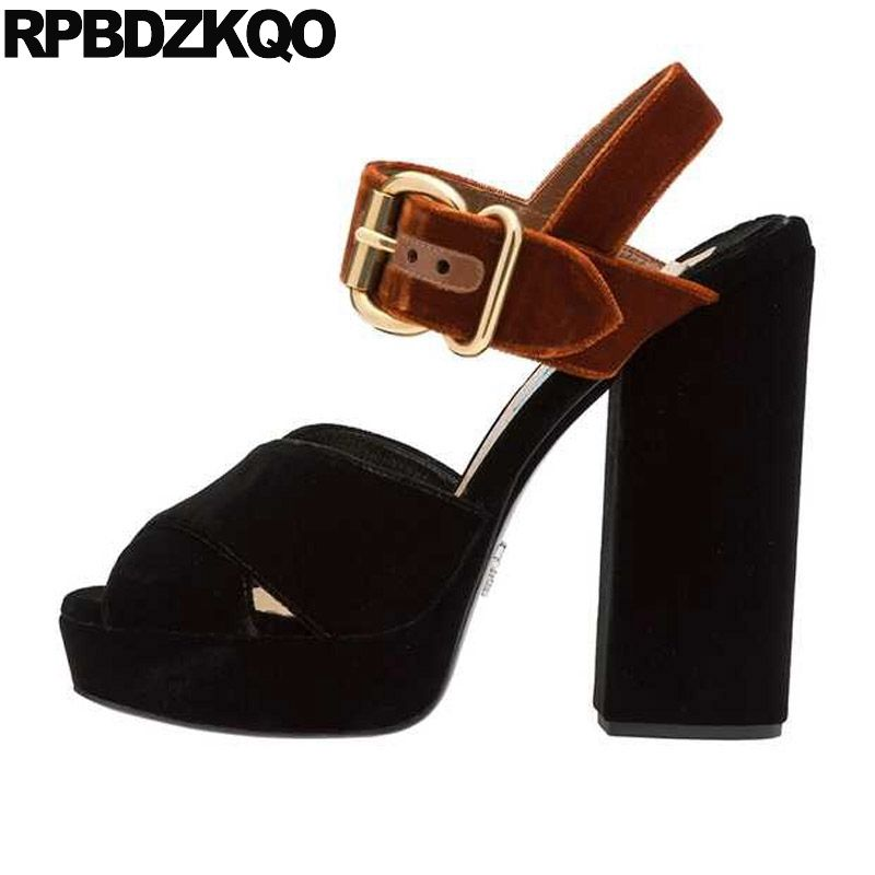 Slingback Strap Sandals Black Green Velvet Chunky Peep Toe Designer Shoes Women Luxury 2018 Square Pumps Platform High Heels