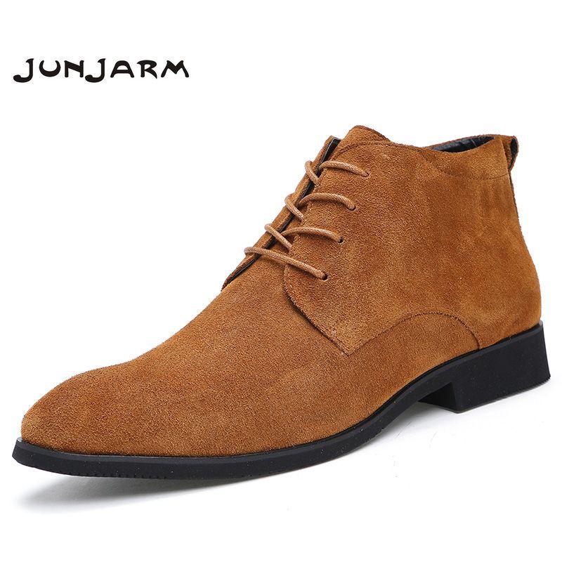 JUNJARM Genuine Leather Men Ankle Boots Breathable Men Leather Boots High Top Shoes Outdoor Casual Men Winter Shoes Botas <font><b>Homme</b></font>