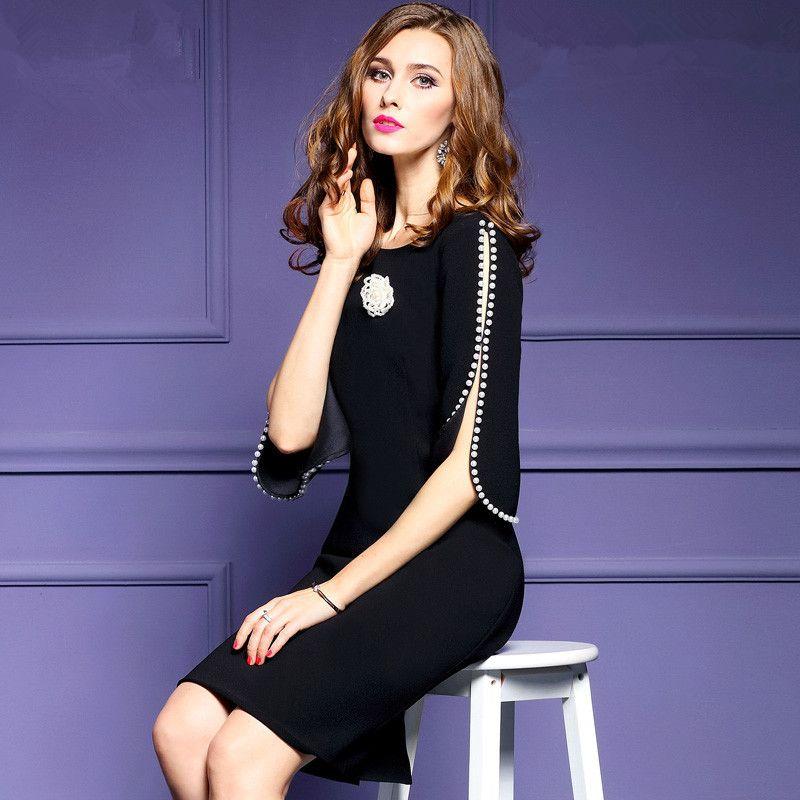 2017 Women's Clothing New Spring Summer Fashion Solid Color Split Flower Dress Half Sleeves O-neck Vintage Dresses Female