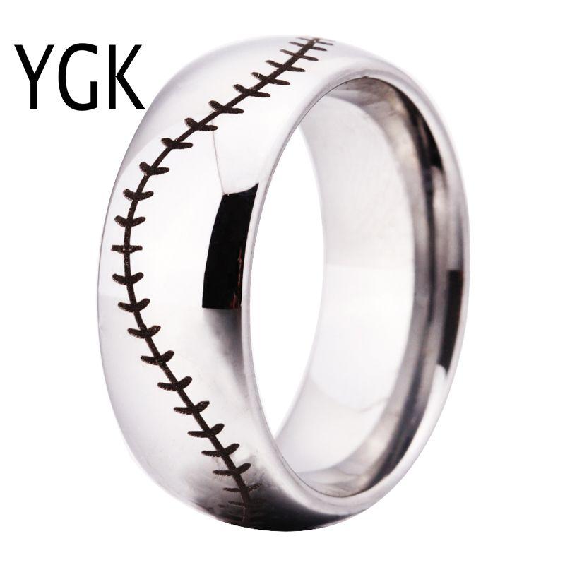 YGK marque 8 MM argent dôme point de Baseball confort hommes mode tungstène bague de mariage