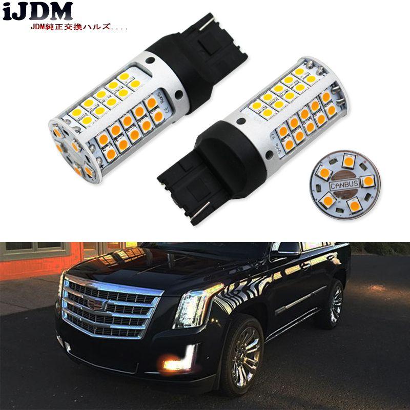 Ijdm CANBUS безошибочную 7440 LED без Hyper flash W21W T20 LED 55smd-3030 для 2015-до Cadillac Escalade спереди сигнальные лампы, 12 В