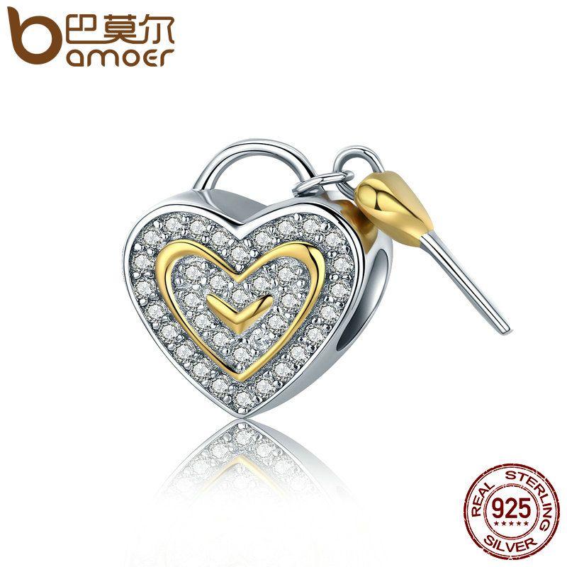 BAMOER Authentische 925 Sterling Silber Romantische Wahre Liebe Schlüssel Lock Charms fit Frauen Charme Armbänder & Armreifen DIY schmuck SCC464