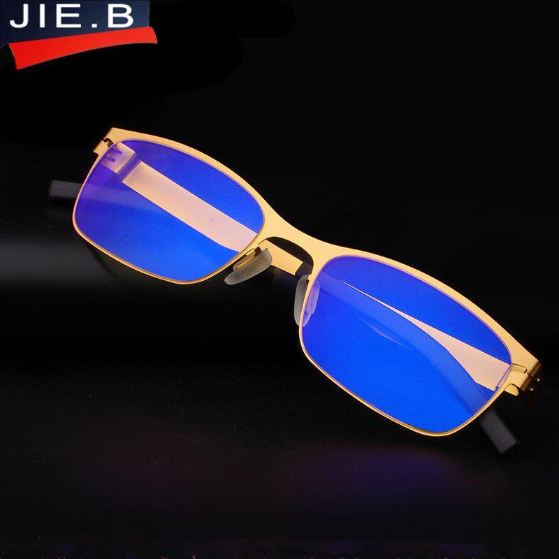 Widerstehen die blu-ray edelstahl Marke Design Top Qualität Lesen Gläser Männer Metall Mode Optik Lesebrille oculos de grau