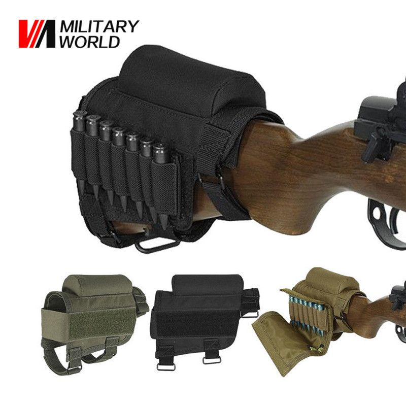 Military World Tactical Rifle Shotgun Buttstock Ammo Cartridges Holder Airsoft Hunting Gun Bullet Carrier Holsters Bag Pouch