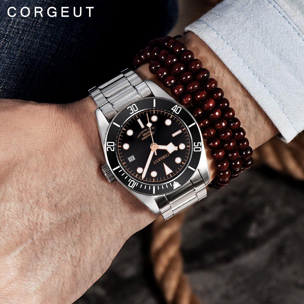 Corgeut Luxury Brand Schwarz Bay Men Automatic Mechanical Watch Military Sport Swim Clock Leather Mechanical Wrist Watches
