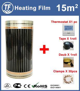 15m2 пол с подогревом Плёнки аксессуары Ширина 0,5 м Длина 30 м AC220V инфракрасное Отопление фильм 110 Вт/м поверхности 40-50 градусов C