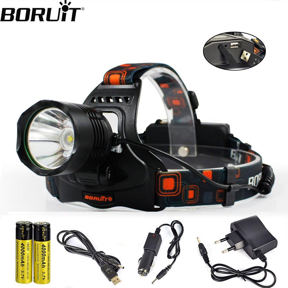 BORUiT XM-L2 LED phare batterie externe 5-Mode 1200LM phare 18650 batterie tête torche Camping chasse étanche lampe de poche