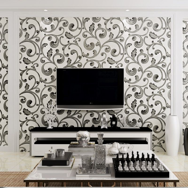 3d papel parede White&Black Luxury Flocking Suede Acanthus Leaf 3d Wallpaper Rolls for Living Room 3d Wall paper TVBackground