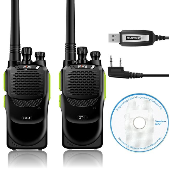 2 Pcs Baofeng/Pofung GT-1 UHF 70cm 400-470MHz 5W 16CH FM Ham Two-way Radio Portable Walkie Talkie Green with Programming Cable