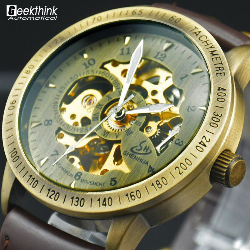 Vintage Bronze Männer Armbanduhr Skeleton Uhr Männliche Leder Antiken Steampunk Lässige Automatische Skeleton Mechanische Uhren