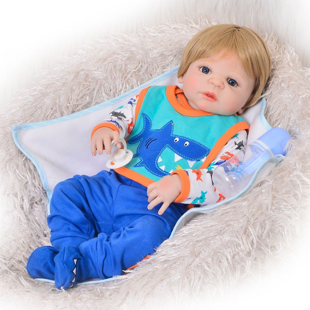 Newborn Doll Realistic 57 cm Full Silicone Baby Reborn Doll Boy Vinyl Look Real Fake Baby Toy For Kid Playmate Gift Xmas Present
