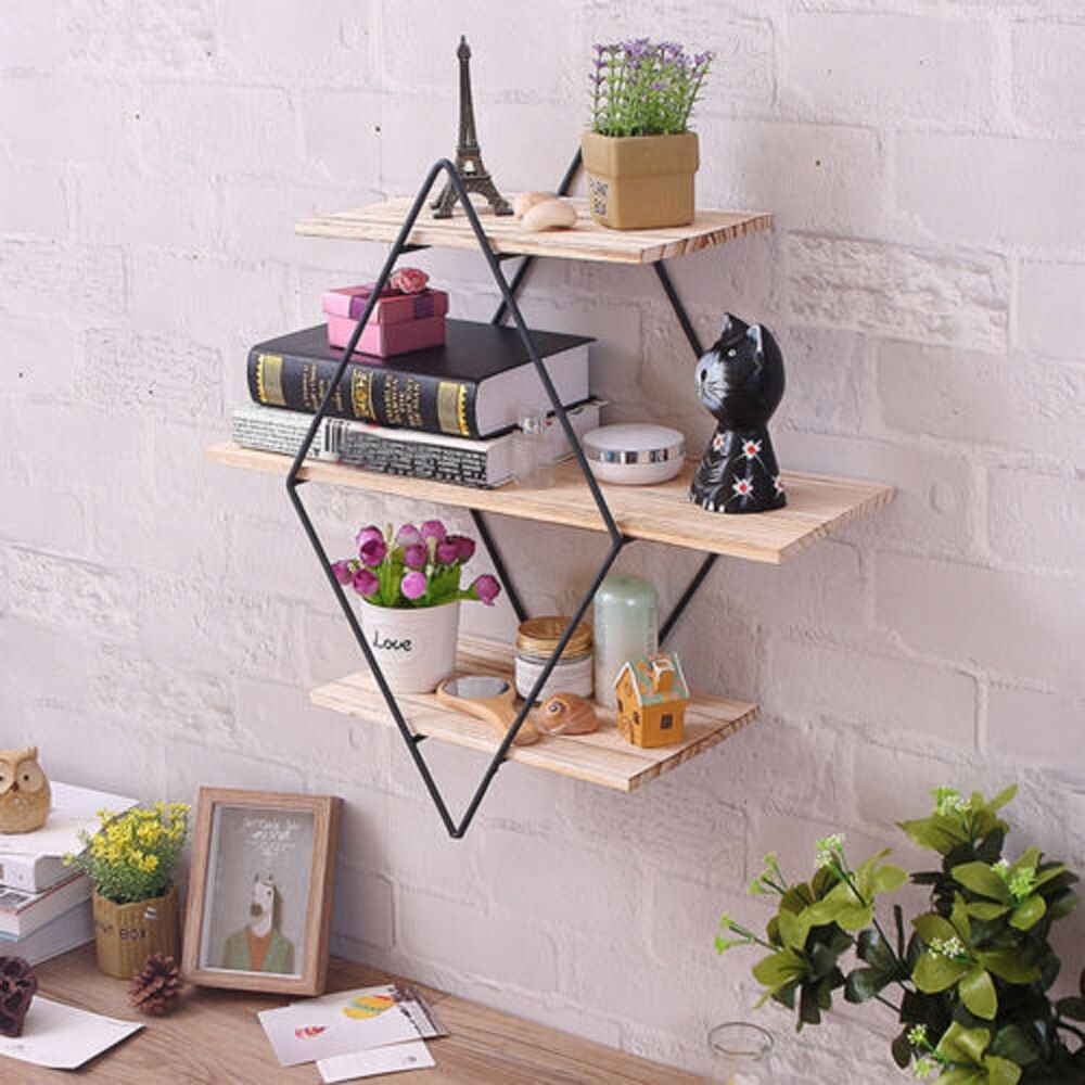 Retro Wood Iron Craft Wall Shelf Rack Book DVD Storage Industrial Style Decor