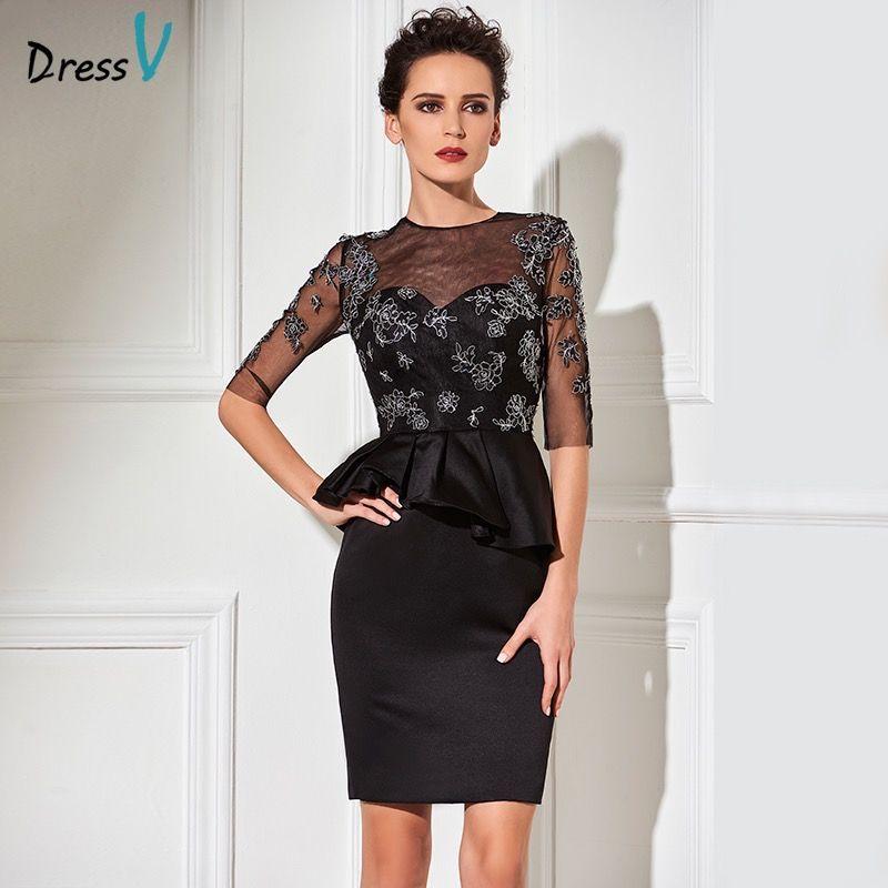 Dressv black sheath knee length cocktail dress jewel neck appliques half sleeves wedding party dress column short cocktail dress