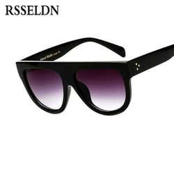 RSSELDN Flat Top Oversized Square Sunglasses Women Gradient 2019 Summer Style Classic Women Sun glasses Big Square Eyewear UV400