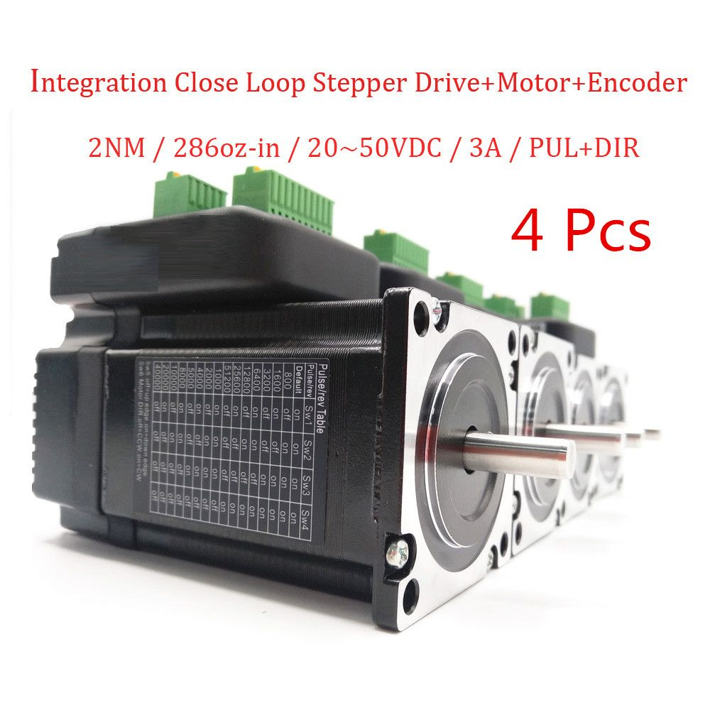 4pcs NEMA23 20-50VDC 2N.m 286oz-in High Torque Integrated Close Loop Stepper Drive+Motor for Electronic Processing Equipment