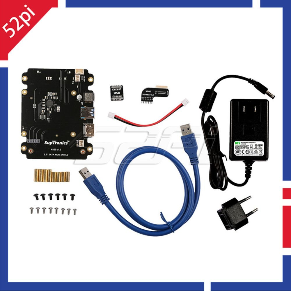 X820 2.5 inch SATA HDD/SSD Storage Expansion Board Kit with DC 5V 4A Power Adapter EU/US Plug for Raspberry Pi 3 Model B / 2 B