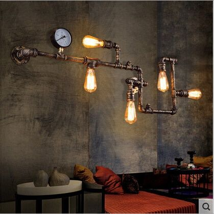 vintage loft wroguht iron Water pipe wall lamp edison light bar dining living room wall lamp