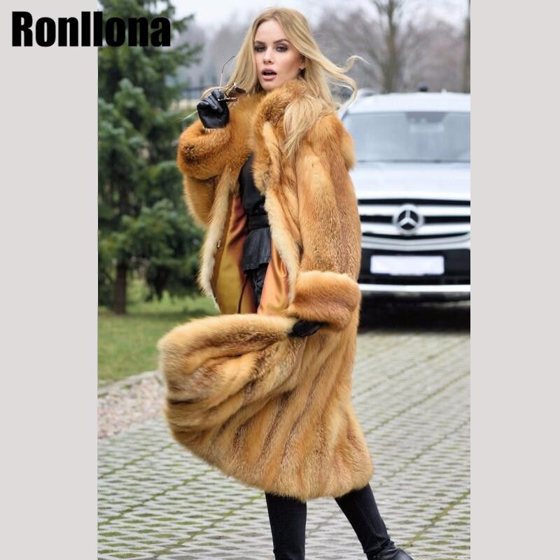 2018New Pelt Real Red Fox Fur Coat Long Real Fur Jacket Natural With Turn-down Collar Fox Full Length Coat Winter Fashion FC-078